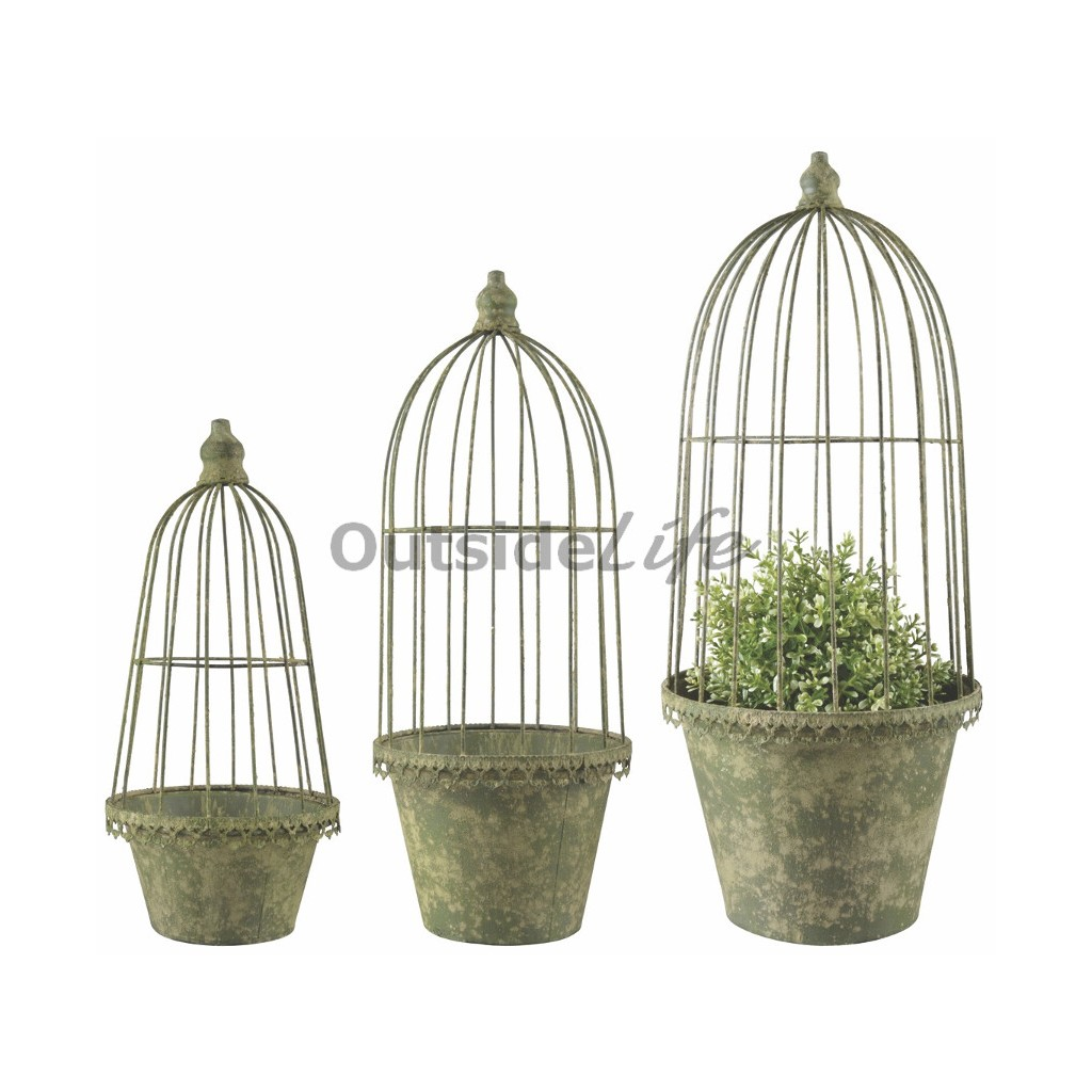 AM Green pot met plantensteun set van 3 (Esschert Design - AM101 - 8714982130113) 1