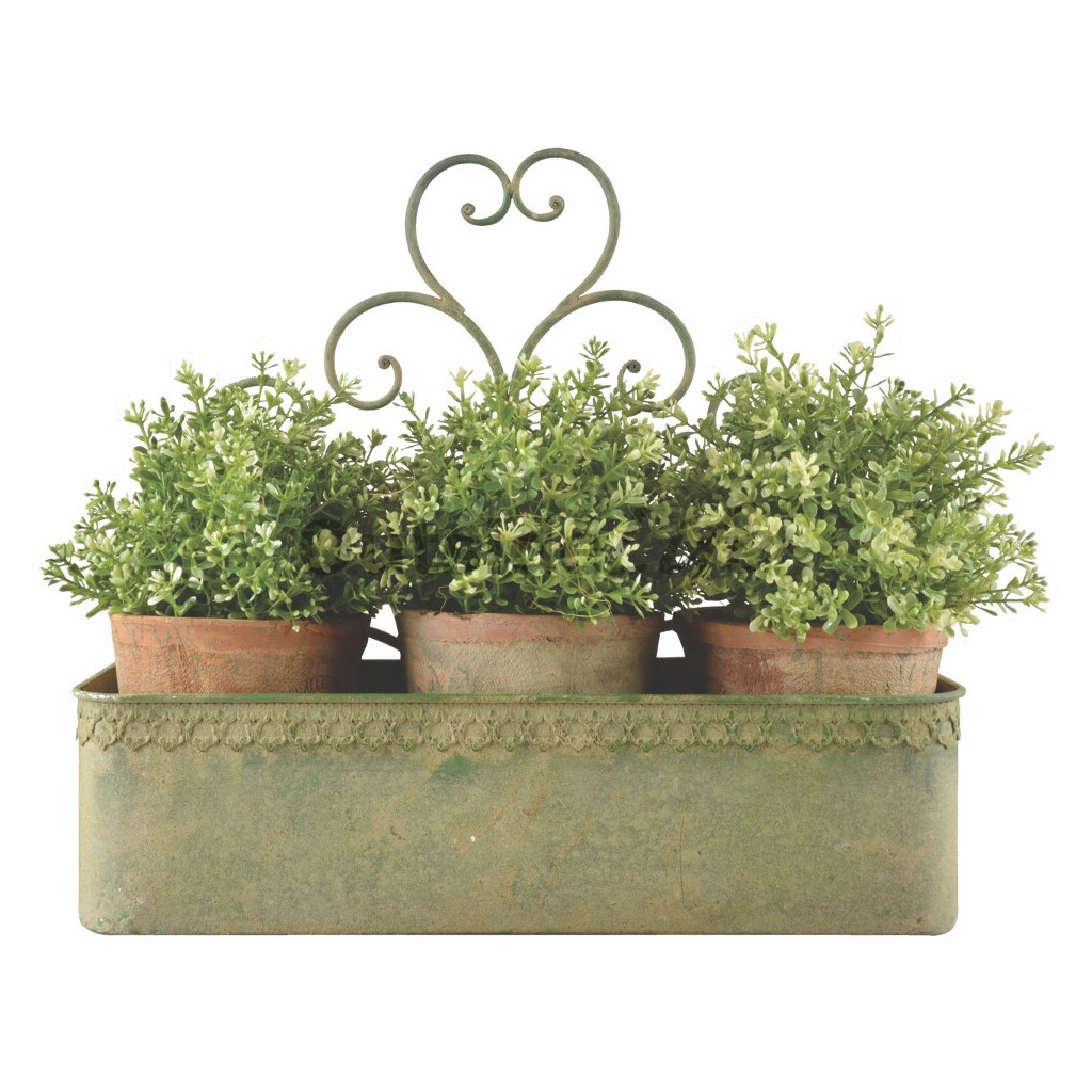 Aged Metal Green wandplantenbak groot (Esschert Design - AM99 - 8714982130090) 1